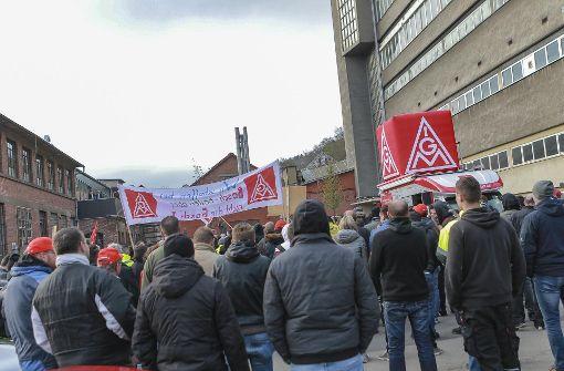 Bosch-Mitarbeiter haben in Schwäbisch Gmünd gegen den Stellenabbau protestiert. Foto: 7aktuell.de/Andreas Friedrichs