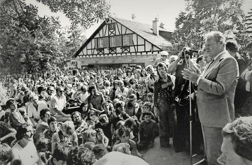 Willi Brandt bei seinem Besuch im Waldheim Heslach im Jahr 1976. Foto: Waldheim Heslach