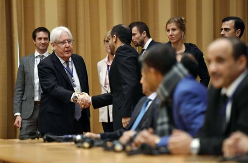 Eröffnungspressekonferenz zu den Gesprächen in Stockholm. Foto: TT News Agency/AP