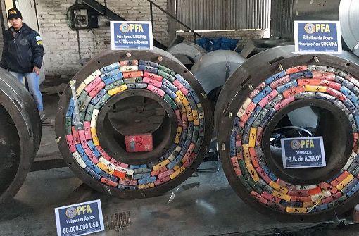 Die Drogenladung mit einem Marktwert von 60 Millionen Dollar (54 Mio. Euro) sei mutmaßlich über Chile nach Argentinien geschmuggelt worden. Foto: telam