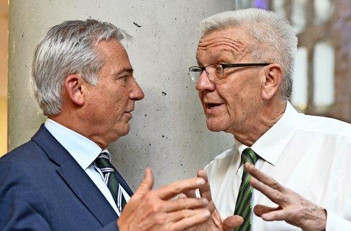 Winfried Kretschmann (rechts) und Thomas Strobl loten aus, ob sie Koalitionsverhandlungen führen wollen Foto: dpa