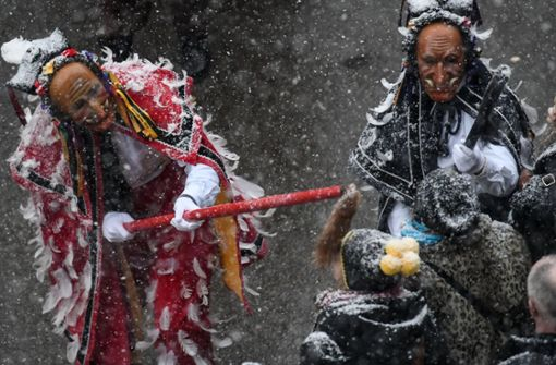 Starker Schneefall bei Narrensprung