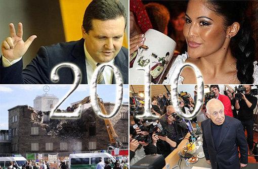 Das war das Jahr 2010 - und so sehen unsere Titelbilder der Jahresrückblicke Januar - März (Stefan Mappus, links oben), April - Juni (Playmate Mia Gray/rechts oben), Juli - September (der erste Baggerbiss/links unten) und Oktober - Dezember (Schlichter Heiner Geißler/rechts unten) aus. Foto: SIR (Montage)