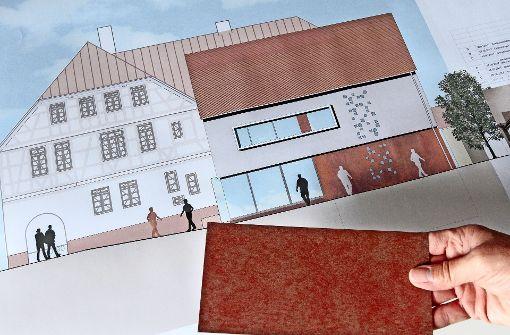 Rostendes Metall  und  Glas an neuem Museumshaus