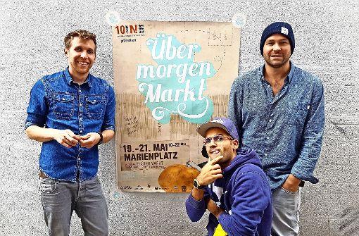 Übermorgen-Markt goes Winterdorf: die Macher Lennard Arendt, Dominik Ochs und Tobias Reisenhofer (von links). Foto: Übermorgen-Markt