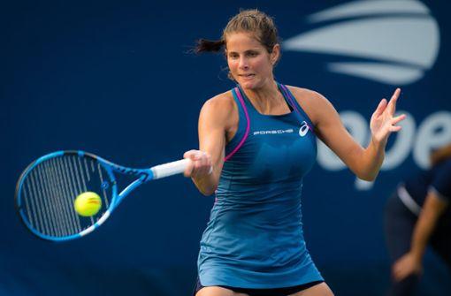 Görges musste sich gegen die russische Qualifikantin Anna Kalinskaja gut zwei Stunden lang mühen. Foto: AFP