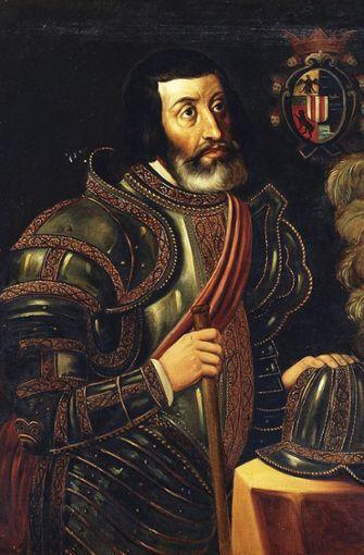 Mit den Spaniern kam der Tod: Als die Konquistadoren unter Hernán Cortés (Gemälde von José Salomé Pina im Prado, Madrid) 1519 in Mexiko ankamen, umfasste die indigene Bevölkerung Mexikos rund 25 Millionen Menschen. Foto: Wikipedia commons