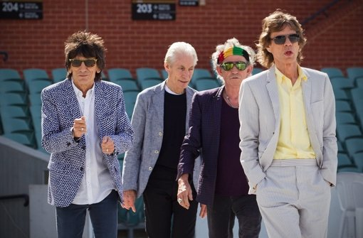 Ronnie Wood, Charlie Watts, Keith Richards und Mick Jagger in Australien. Foto: dpa