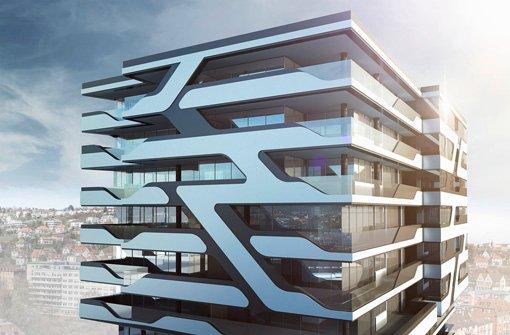 Wohnen in Cloud No. 7: Architekt Heiko Ostmann verspricht ein Wahrzeichen, das wie eine Skulptur wirkt. Foto: Visualisierung: Aldinger & Wolf