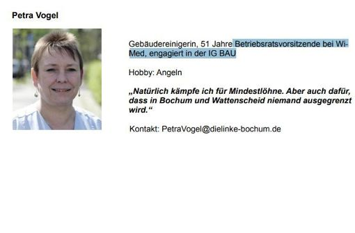 Die Agenda von Petra Vogel auf der Webseite der Linken in Bochum.  Foto:  Screenshot: www.dielinke-bochum.de/fileadmin/kvbochum/Dokumente/Koepfe_Direktkandidatinnen/PetraVogel.pdf