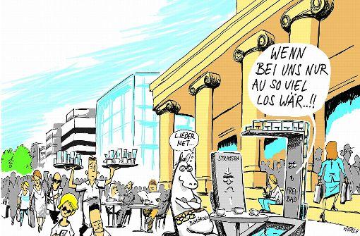 Volle Cafés, leere Straßen