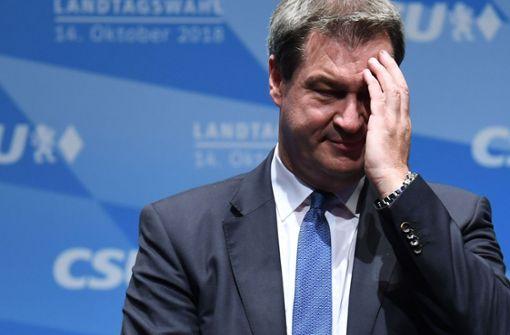 Ministerpräsident Markus Söder: die Wahl am Sonntag kann für ihn ins Auge gehen. Foto: AFP