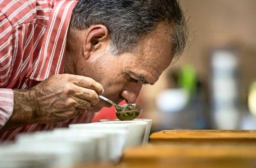 Roberto Mata bei der Kaffeeprobe – bevor der Geschmackstest kommt, wird der Duft des Kaffees bewertet. Foto: dpa