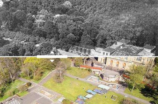 Die Villa Berg im Jahr 1930 und im Jahr 2016: Äußerlich hat sich an dem Bauwerk nicht viel getan – innen und auf der Außenanlage dafür umso mehr. Foto: Juxtapose