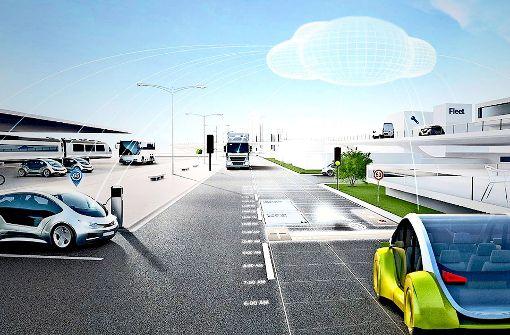 Boschs neue Internet-Plattform soll für selbstfahrende Autos neue Dienste anbieten, zum Beispiel die  schnellere Warnung vor Falschfahrern und eine vorausschauende Wartung. Foto: Bosch