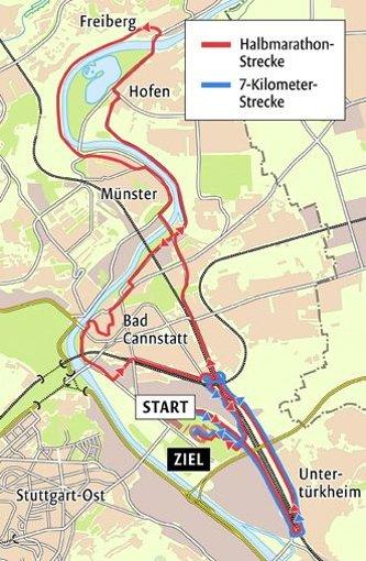 ...die Strecken beim Stuttgart-Lauf 2012 aus. Foto: StN-Grafik: Lange/Quelle: Veranstalter