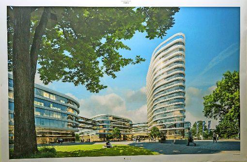 Der siegreiche Entwurf von Gerber Architekten: Ein Hochhaus ragt aus anderen Bürogebäuden für die Allianz heraus. Foto: Lg/Julian Rettig,