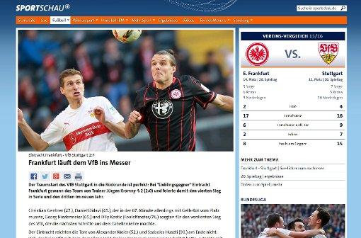 Frankfurt läuft dem VfB ins Messer, titelt die Sportschau Foto: Screenshot