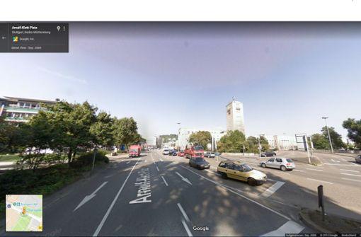 Wo im September 2008 noch eine weitere Zufahrt zum Hauptbahnhof war, ... Foto: Google Street View