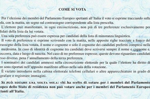 Bitte nur ein Mal wählen: Hinweis des italienischen Innenministeriums Foto: StN