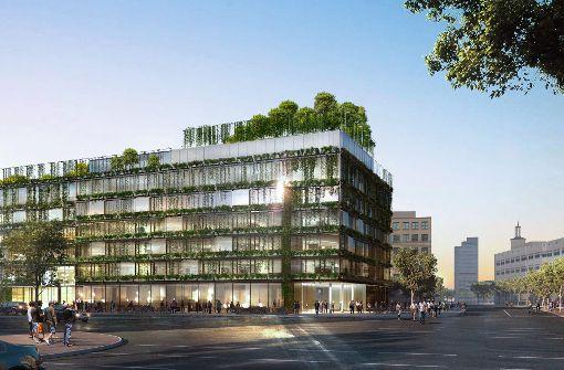 Der Entwurf nach der Überarbeitung und bei der jüngsten Beratung: Auf dem Dach ist jetzt ein Wäldlchen vorgesehen. Foto: Ingenhoven Architects