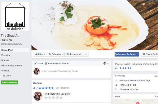 Das vermeintliche Restaurant hat sogar eine Facebook-Seite. Foto: Facebook/@theshedatdulwich