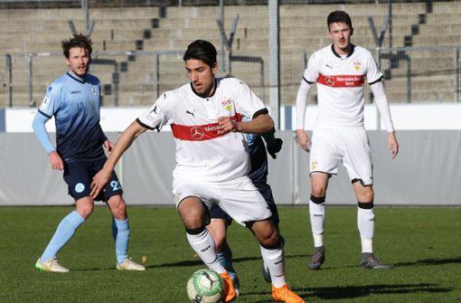 FUSSBALL: Regionalliga Südwest, VfB Stuttgart II gegen 1. FC Saarbrücken am Samstag (14 Uhr) im Gazi-Stadion auf der Waldau – Unter der Woche musste der VfB II im a href=https://www.stuttgarter-nachrichten.de/inhalt.vfb-ii-kassiert-ausgleich-in-nachspielzeit-mainzer-torwart-trifft-per-hacke.217a3193-56d9-4d04-a9be-35c508bed648.html target=_blankNachholspiel beim FSV Mainz/a 05 II ran. Wie schon im Auswärtsspiel gegen Waldhof Mannheim am vergangenen Wochenende setzte es dabei einen Nackenschlag in der Schlussphase. In Mainz kassierte das Team von Trainer Andreas Hinkel noch den 1:1-Ausgleich, in Mannheim unterlag es durch einen verwandelten Elfmeter 0:1. Nun soll im Heimspiel endlich wieder ein Dreier folgen. Zu Gast ist allerdings der unangefochtene Tabellenführer aus dem Saarland. Foto: Baumann