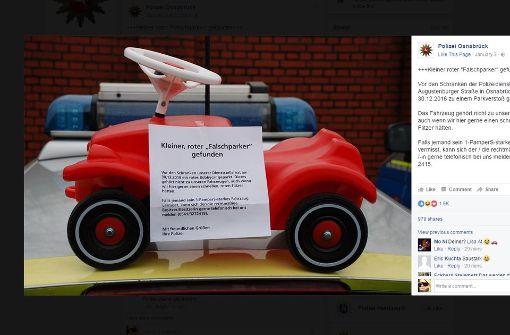 """Beamte suchen Bobbycar-""""Falschparker"""" über Facebook"""