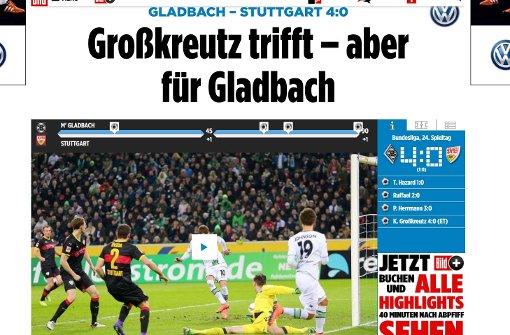 """""""So gut die Stuttgarter nach vorne arbeiten, so schlecht sehen sie allerdings hinten aus"""", heißt es bei der Bild. Foto: Screenshot"""