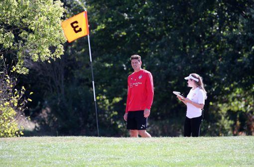 Mario Gomez zeigte sich beim Footgolf treffsicher. Foto: Pressefoto Baumann