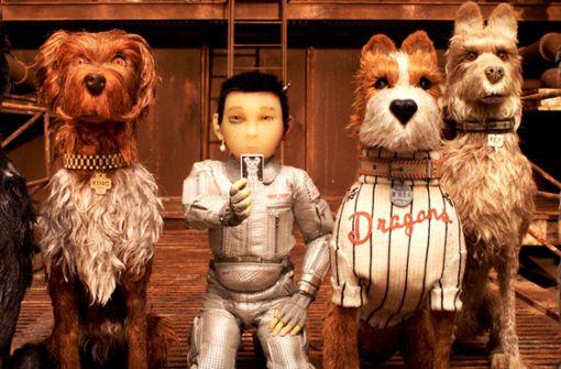 """Hätten Sie ihn erkannt: Bill Murray ist der mit dem """"Dragons""""-Trikot – zumindest leiht er dem Hund namens Boss in Wes Andersons Film """"Isle of Dogs"""" die Stimme. Foto: Berlinale"""