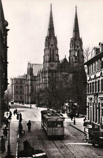 Tübinger Straße im Jahr 1905. Foto: Straßenbahnmuseum