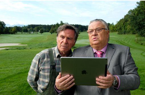 Schorsch (Elmar Wepper, li.) hat Stress mit dem Golfplatz-Eigentümer (Bernd Stegemann). Foto: Majestic