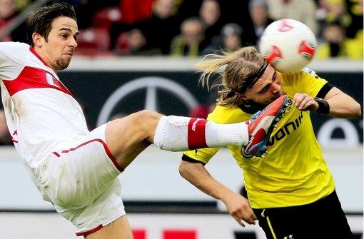 Bei der Partie VfB Stuttgart gegen Borussia Dortmund ging es zur Sache. Klicken Sie sich durch unsere Noten für die Roten. Foto: Pressefoto Baumann