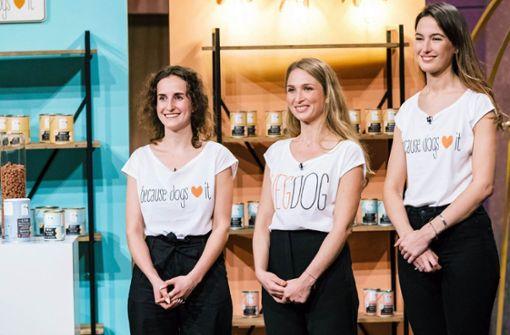 Die drei Gründerinnen des Start-Ups Vegdog, das veganes Hundefutter vermarktet. Foto: Glomex