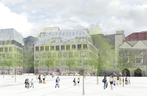 ... rechts ein Teil der Markthalle. Foto: Breuninger/Behnisch Architekten