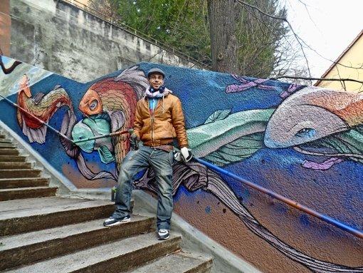 Buntes Graffito statt tristem Beton