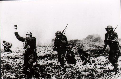 1914-1918: Britischer Infanterieangriff im Ersten Weltkrieg. Foto: Arte