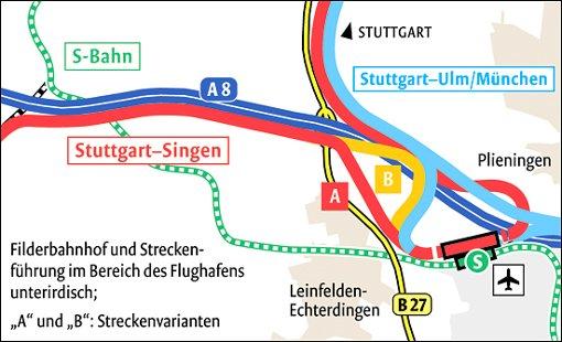 So stellt sich die SPD die Gleisführung auf den Fildern vor. Quelle: Unbekannt