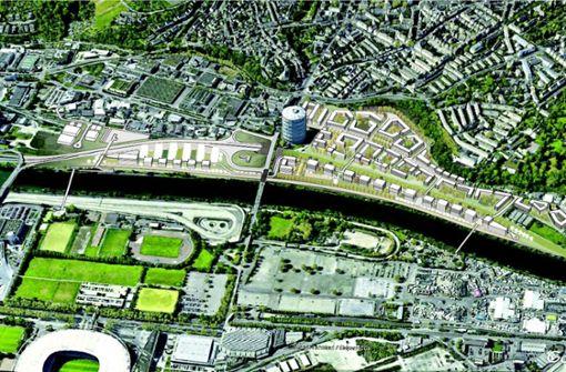 Vorschlag aus einer Machbarkeitsstudie für ein neues Wohngebiet am Neckar mit rund 1000 Wohnungen. Illustration: Karajan Ingenieure und Engelsmann Peters Beratende Ingenieure