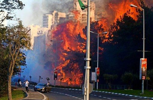 Bewohner Haifas fliehen vor den Flammen. Foto: AP