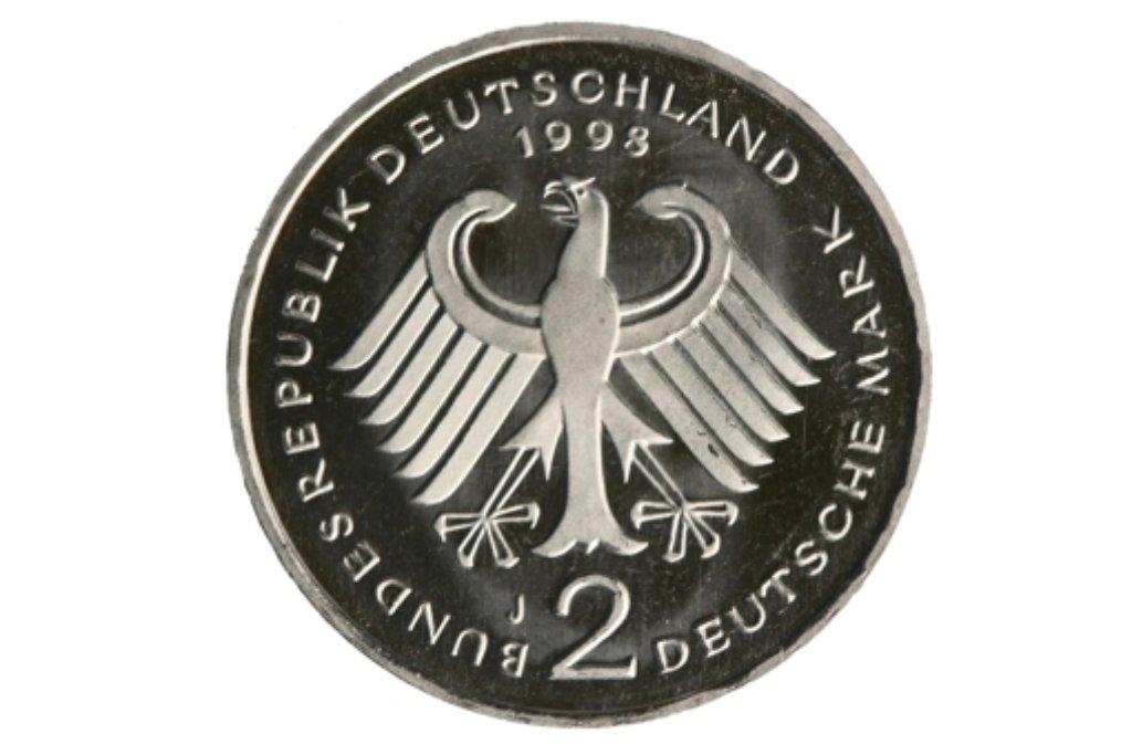 Zwei Mark Bitte Der Adler Ziert Die Rückseite Der Alten Münze