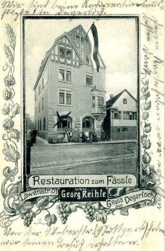 Gasthäuser waren anno dazumal ein beliebtes Grußkartenmotiv. Das Fässle wirtschaftet heute noch an der Löwenstraße. Foto: privat