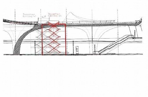 Zwei bisher nicht geplante Fluchttreppenhäuser (im Bild rot) gelten für die Bahn beim Tiefbahnhof als zweitbeste Wahl in Sachen Brandschutz. Die erste ist eine neuartige Sprinkleranlage. Foto: Bahn