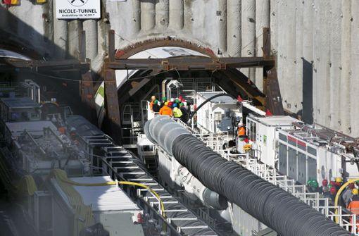 Sprengungen auf der Tunnelbaustelle