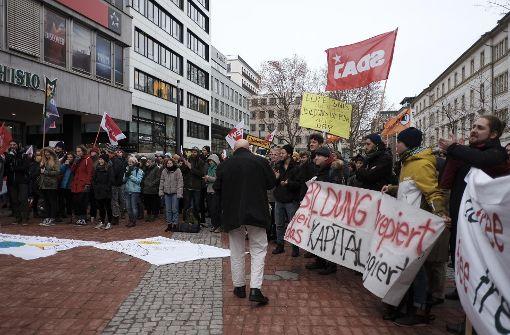 Studenten gehen in Stuttgart auf die Straße