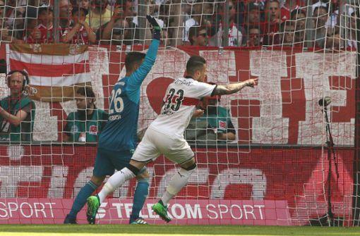 Der VfB zeigt gleich zu Beginn auf: Daniel Ginczek tritt in der 5. Minute zum 1:0.  Foto: Getty Images/Bongarts