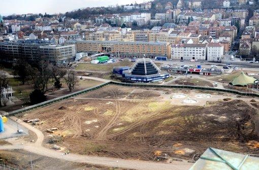Das Gebiet im Schlossgarten nach der Baumrodung im Februar 2012. Foto: dpa