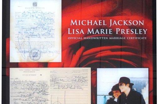 Eine Kopie von Michael Jacksons Heiratsurkunde ist für 36.000 Euro versteigert worden. Foto: United Charity
