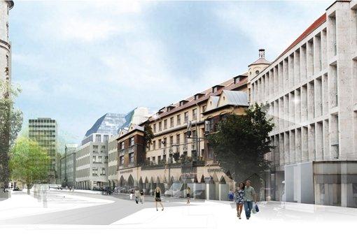 ... die Markthalle den Blick auf die Gebäude. Foto: Behnisch Architekten